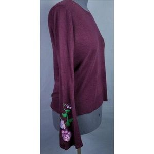 Faded Glory Sweater L Embroidered Bell Sleeve